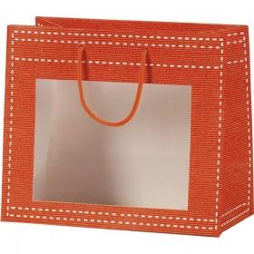Sac papier fenetre PVC orange - Lot de 12