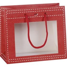 Sac carton fenetre PVC rouge - Lot de 12