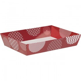 Corbeille carton rect. rouge/blanc - Lot de 5