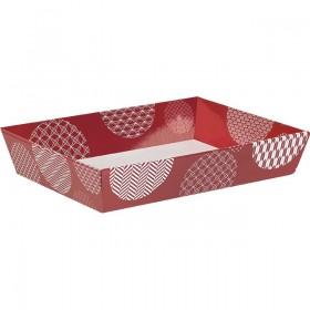 Corbeille carton rect. rouge/blanc - Lot de 5