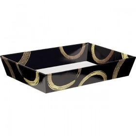 Corbeille carton rect.noir/or - Lot de 5
