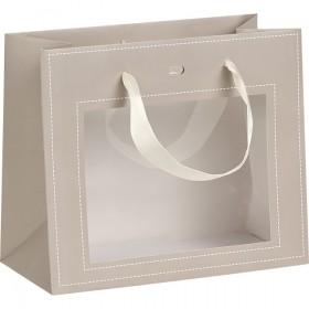 Sac carton fenetre PVC taupe - Lot de 12
