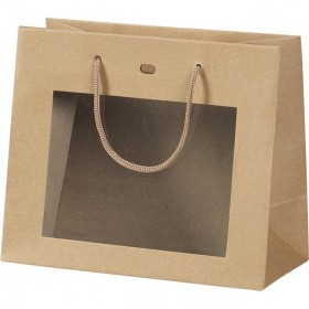 Sac papier fenetre PVC kraft - Lot de 12