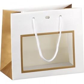 Accessoire Sac papier cuivre/blanc/vernis fênetre PVC - Lot de 12