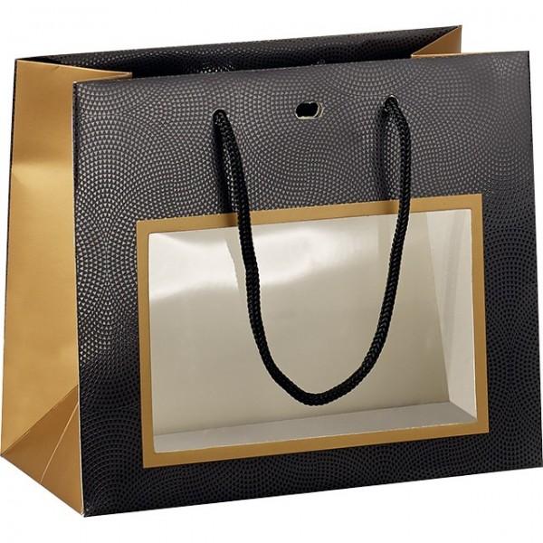 Accessoire Sac papier cuivre/noir/vernis fênetre PVC - Lot de 12