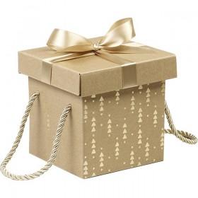 12 Coffrets carton kraft carré décor or noeud satin