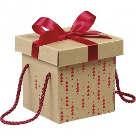 12 Coffrets carton kraft carré décor rouge noeud satin
