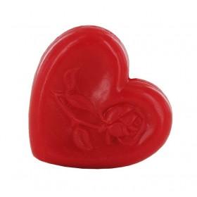 Savon cœur avec rose rouge - Sac 50