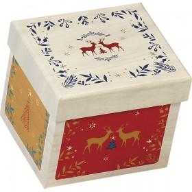 12 Coffrets carton carré effet bois décor Bonnes fêtes