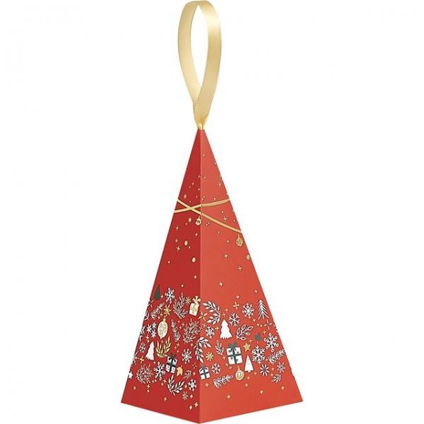 Pyramide papier décor Bonnes Fêtes rouge - Lot de 12