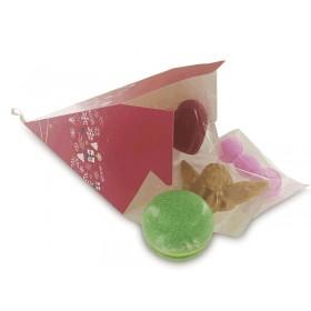 Pyramide papier décor Bonnes Fêtes rouge - Lot de 24