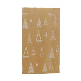 Pochette papier cadeau sapin de Noël fond kraft - Lot 10