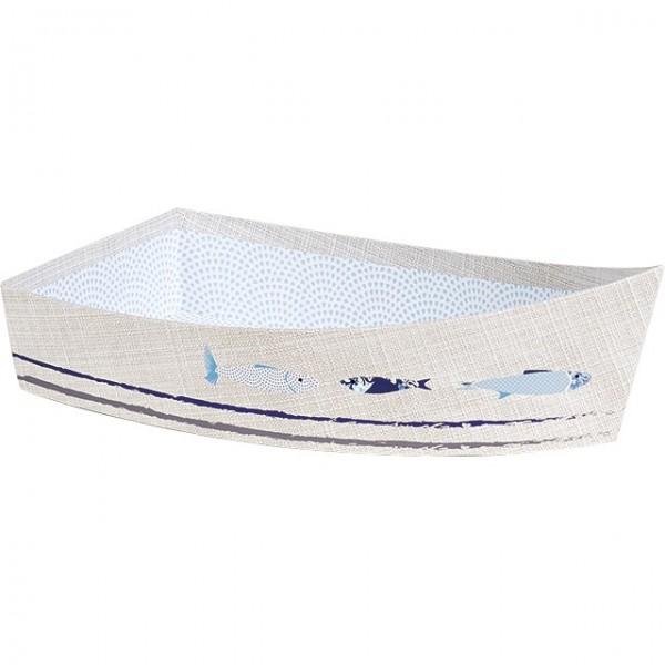 Barquette carton forme bateau gris - Unité