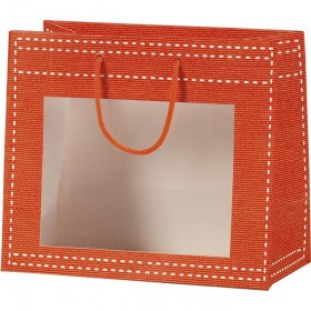 Sac papier fenetre PVC orange - Lot de 12