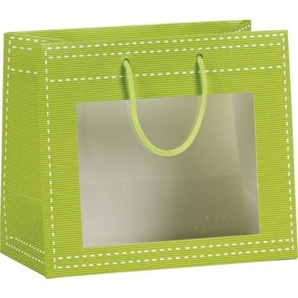 Sac papier fenetre PVC vert anis - Lot de 12